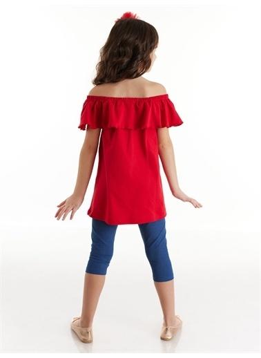 Denokids Fırfırlı Kelebek Kız Tunik Takım Renkli